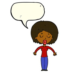 Cartoon woman with closed eyes with speech bubble vector