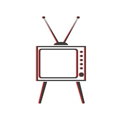 Old tv icon retro style screen and antenna object vector