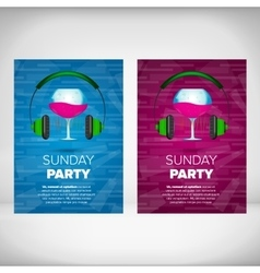 Sunday party leaflet with wine glass vector