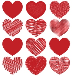 Set of hand drawn scribble hearts icon design vector