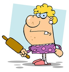 Angry Wife With A Rolling Pin vector image