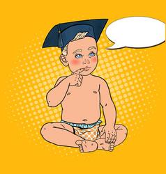 Baby boy in bachelor cap pop art vector