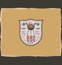 bbq club typography poster template in retro old vector image vector image