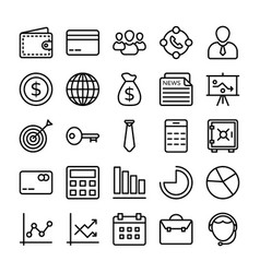 business and office line icons 5 vector image