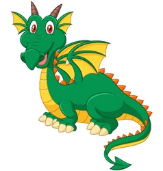 Cartoon happy green dragon vector image vector image