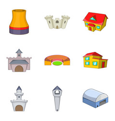 Chateau icons set cartoon style vector