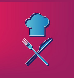 Chef with knife and fork sign blue 3d vector