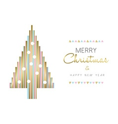 Christmas tree and new year design in gold color vector