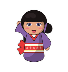Cute kokeshi doll tradition japanese vector