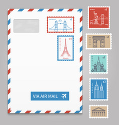 envelope with postage stamps with line travelling vector image vector image