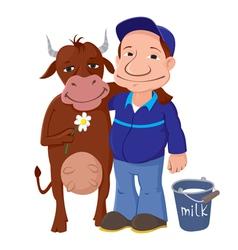 Farmer with cow vector
