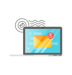 flat style of mail on laptop screen vector image vector image