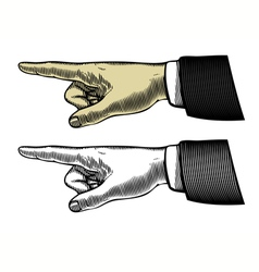 hand with pointing finger in engraved style vector image vector image