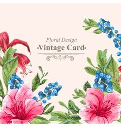 Invitation Vintage Card with Blueberries Pink vector image