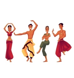 Male and female indian dancers in traditional vector