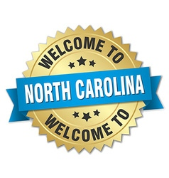 North Carolina 3d gold badge with blue ribbon vector image