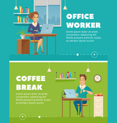 Office worker characters cartoon banners vector