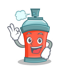 Okay aerosol spray can character cartoon vector