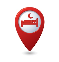 Red map pointer with hotel icon vector