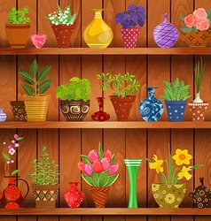Rustic kitchen interior with herbs and flowers vector