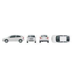 set of white sedan cars isolated car template vector image