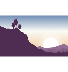 Silhouette of cliff beauty landscape vector image vector image