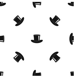 silk hat pattern seamless black vector image vector image