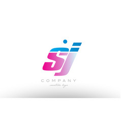 sj s j alphabet letter combination pink blue bold vector image