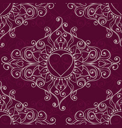 sketch of tattoo henna hearts seamless pattern vector image