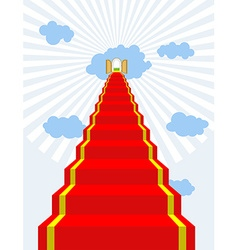 Stairway to paradise Red carpet into sky Gates of vector image