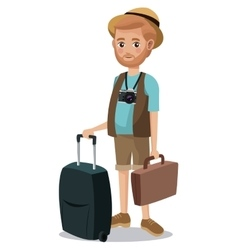 Traveling man beard tourist camera portfolio vector