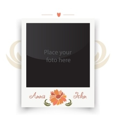 Vintage wedding photo frame template for photo of vector