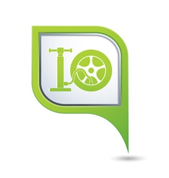 wheel pump icon on green pointer vector image vector image