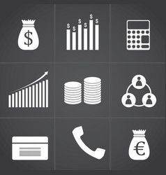 white business and finance icon set on grey vector image
