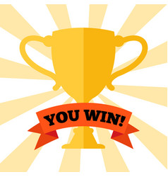 you win poster with prize cup vector image vector image