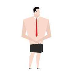 Naked businessman man in tie and shoes bankrupt vector