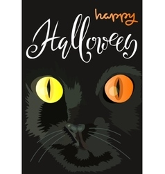 Halloween black cat with colored eyes Halloween vector image