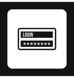 Username and password icon simple style vector image