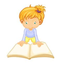 a girl reading book vector image