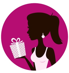 Beautiful woman with gift box isolated on pink vector