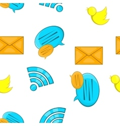 Communication over internet pattern cartoon style vector