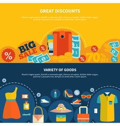 Great discounts shopping banners vector