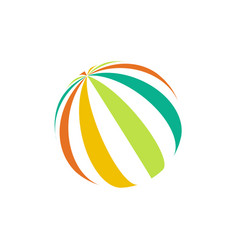 isolated colorful beach ball logo unusual vector image