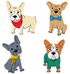 Cartoon character french bulldog vector
