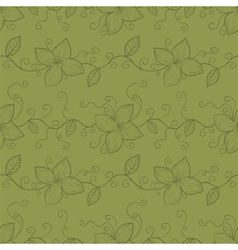 Stylized flowers and leaves seamless pattern vector image