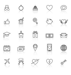 Family line icons with reflect on white background vector