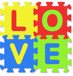 Word love written with alphabet puzzle letters vector