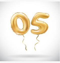 Golden number 05 zero five metallic balloon party vector