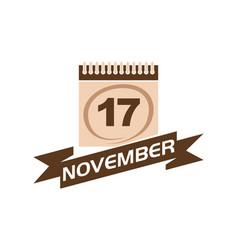17 november calendar with ribbon vector