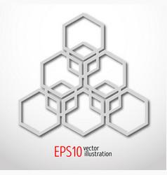 Hexagonal 3d design made in white plastic style vector